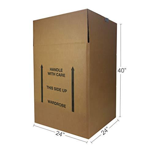 Amazon Basics Wardrobe Clothing Moving Boxes - 24' x 24' x 40', 6-Pack