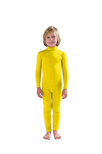 Full Bodysuit Kids Dancewear Without Gloves and Socks Solid Color Spandex Zentai Child Unitard (Medium, Yellow)