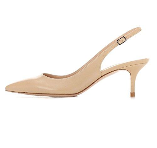 EDEFS Damen Kitten-Heel Slingback Pumps Spitze 6.5cm Mittlerer Absatz Pointed Toe Schuhe Beige Größe EU37