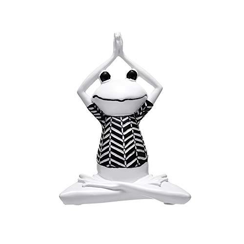 TOPofly Rana Yoga,Figura de Rana Yoga de Resina Estilo de Negro y Blanco Decoración del Hogar Mesa de Modelo de Rana Yoga Estilo C