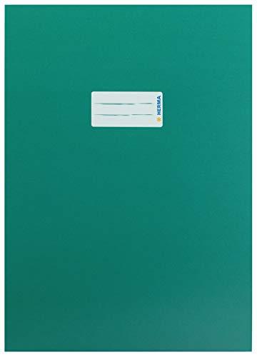 HERMA 19753 Karton Heftumschlag DIN A4 mit Beschriftungsetikett, aus stabilem und extra starkem Papier, Heftschoner für Schulhefte, dunkelgrün