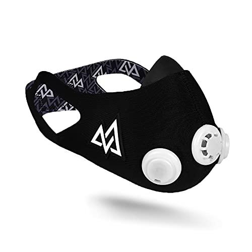 Training Mask 2.0 [Original Black] Elevation, Fitness Mask, Workout Mask, Running Mask, Breathing Mask, Resistance Mask, Elevation Mask, Cardio Mask (Black & White, Medium)