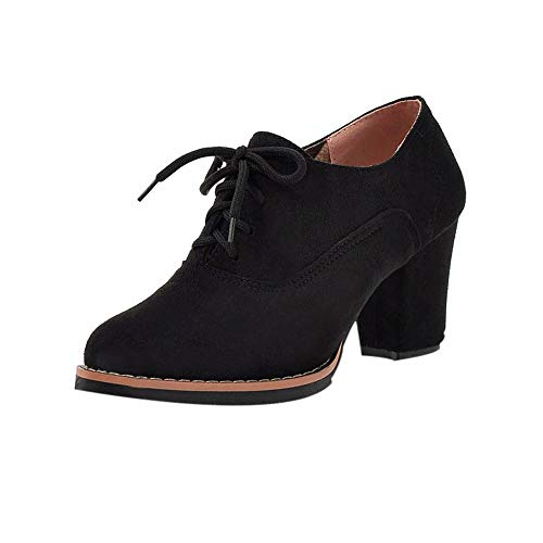 Honestyi Bottillons Hiver Femmes Chaussures Talon Epais Bottes Grande Taille à Lacets Boots Style Britannique Dame Casual Shoes Couleur Unie Suede Bottes Garder au Chaud Bottillons