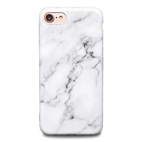 Oveo® Coque pour iPhone 7/8 / Se 2020 en Silicone Ultra Fine, Motif marbre Blanc Blanche Gris Mat, Bord Semi Transparent, Homme/Femme/Garçon/Fille