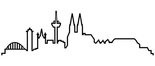Samunshi® Köln Skyline Wandtattoo Silhouette Köln schwarz 120x35cm