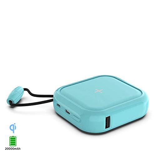 DAM PowerBank inalámbrico Qi multiposición de 20.000 mAh, Doble Salida USB 2A