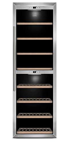 CASO WineComfort 180 Design Weinkühlschrank für bis zu 180 Flaschen (bis zu 310 mm Höhe), zwei Temperaturzonen 5-20°C, Getränkekühlschrank
