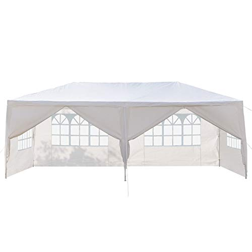KEAIDO Gazebo Outdoor Canopy Tent 10x20 ft Waterproof Pop Up 6 Sides 2 Doors Shelter for Patio, Garden, Wedding, Camping, Spring Summer Backyard BBQ Grill Party with Spiral Tubes, White, Portable