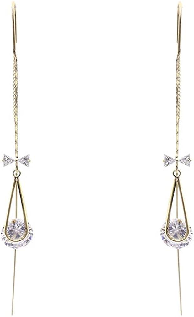 YAZILIND Geometric Tassel Long Dangle Earrings Cubic Zirconia Ear Line Women Girls Jewelry