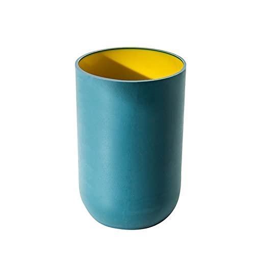 LEYIS Taza antideslizante sin cubierta de dos colores estilo europeo baño hogar simple pareja diente taza lavado taza (color: azul marino)