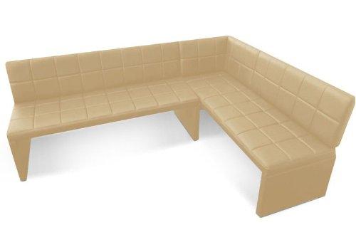 SAM Eckbank Nantes I, Kunstleder Creme, Rechte Seite 162 cm, Linke Seite 224 cm, Sitzbank mit Rückenlehne, mit Absteppungen
