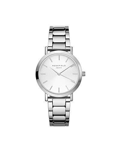 Rosefield Dames analoog horloge The Tribeca White Sunray Steel Silver