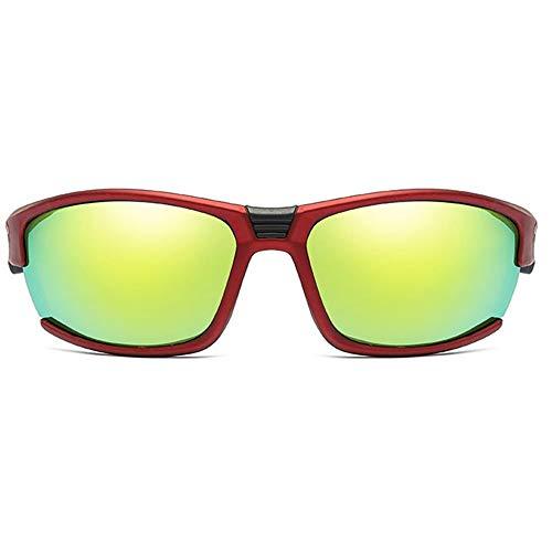 Hancoc Gafas de sol de metal para deportes al aire libre, coloridas, color rojo/blanco, para hombres y mujeres, con lentes de sol polarizados arenados (color: rojo)