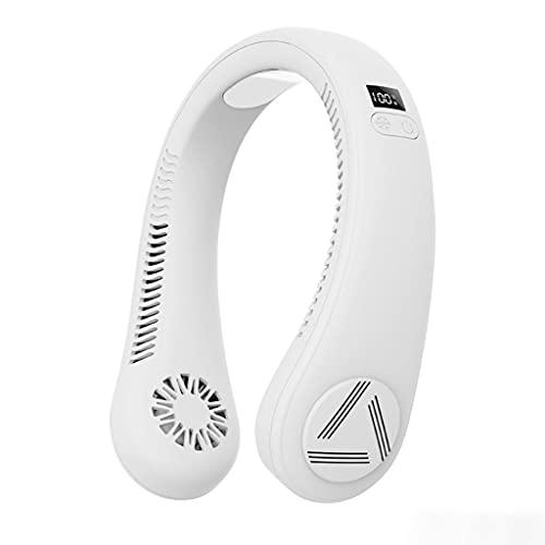 alyf Ventilador de Cuello portátil Manos Libres Recargable Ventilador portátil portátil 3 velocidades Ajuste Gratuito Fans de enfriamiento con Pantalla LED (Color : White)
