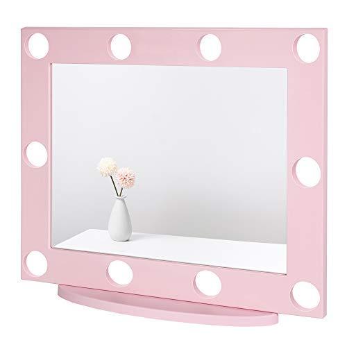 Waneway Espejo de Tocador Grande con 10 Agujeros Pretaladrados (Sin Bombillas), Compatible con Luces de Maquillaje, Espejo de Hollywood Iluminado con Alambre Oculto, Mesa o Montaje en Pared, Polvo