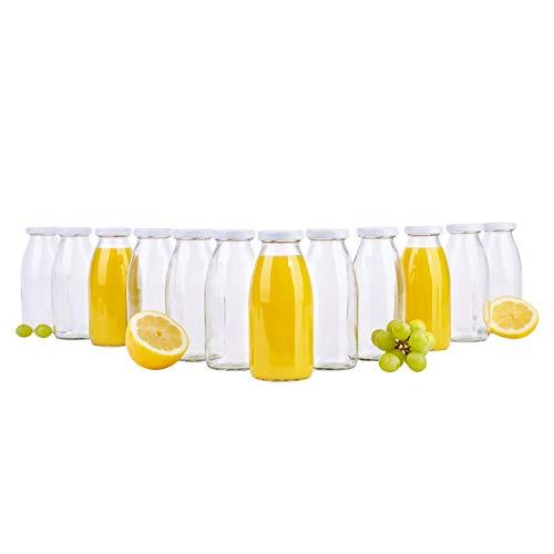 MamboCat 12er Set Saftflaschen 250 ml + Twist-Off Deckel TO43 weiß I bauchige Glasform I Glasflasche zum Befüllen I Karaffe I Milchflasche I Deko-Vase I Trinkflasche I Schüttdosen