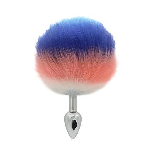 Tapón de joyería de cristal de acero inoxidable de la cola de la bola de conejo de imitación removible para las mujeres Hombres liberan herramienta de puntos de activación miofascial (Size : S)