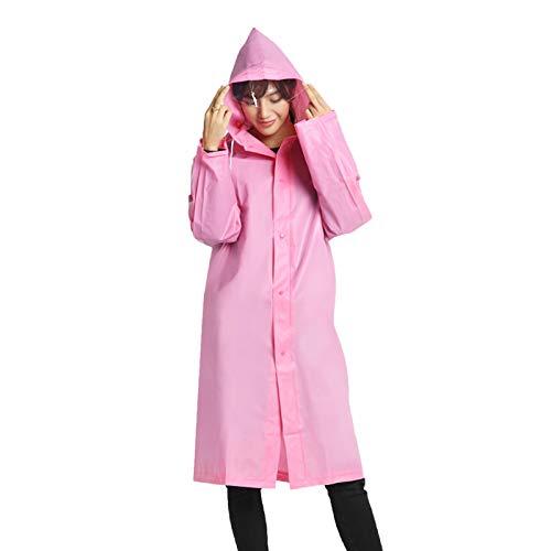 Elonglin Unisexe Cape de Pluie Poncho Pluie à Capuche Manteau Imperméable Translucide Raincoat pour Voyage Camping Randonnée Vacance en EVA Rose Poitrine 50 inch(Asie XL)