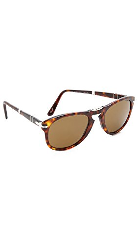 Persol Men's Folding Classic Sunglasses, Havana/Brown Polar, One Size
