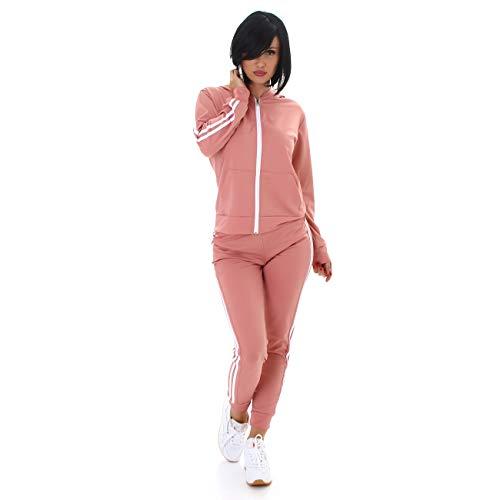 Lixano Damen Jogging Anzug Jogginganzug Sportanzug Trainingsanzug Workout Outfit Samt-Look (Rosa, S/M)
