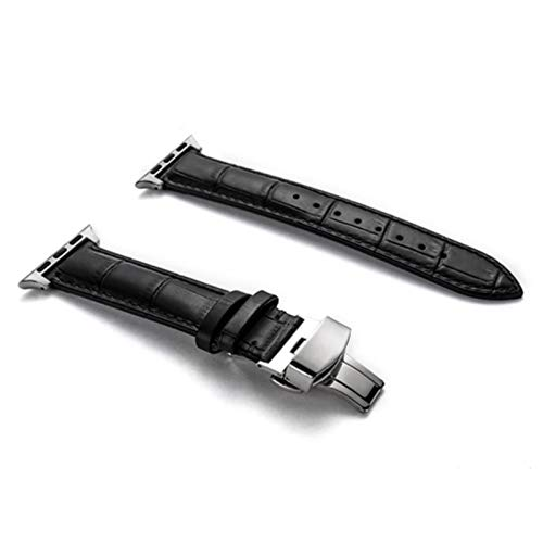 Bgfh correa de reloj de cuero genuino para Apple Watch Series 6 SE 5 4 3 2 44 Mm 40mm pulsera de reloj para Iwatch 42mm 38mm acero inoxidable