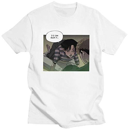 Killing Stalking T Shirt Men's Short Sleeve Cotton Sangwoo Yoonbum T-Shirt Korean Yaoi Manga Yoon Bum tee Merchandise Gift Top_WhiteM011