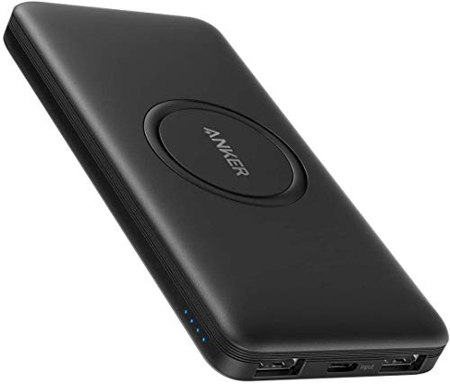 Anker Wireless Power Bank, PowerCore 10,000mAh Portable Charger with USB-C (Input Only), External Battery Pack Compatible with iPhone 11, Samsung, iPad 2020 Pro, AirPods, and More