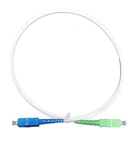 Câble Fibre Optique Prémium Freebox (Mini 4K, Révolution, One, Delta s, Delta) Haute Qualité Souple et Renforcé, Blanc, Connecteurs SC/APC-SC/UPC (1 M)