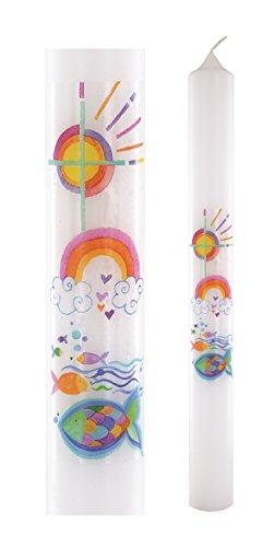 Taufkerze mit Kreuz, Sonne, Regenbogen, Fischen, 400x40 mm