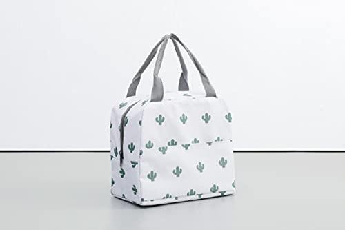 Bolsa portátil Nueva caja con aislamiento térmico Bolsa de mano enfriador Contenedor de cena Bolsas de almacenamiento de alimentos escolares-093-Blanco