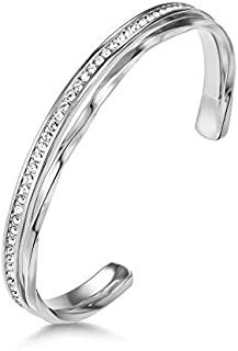 Mestige Audrina Bangle with Swarovski® Crystals (Silver), Gifts Women Girls, Formal, Bangle