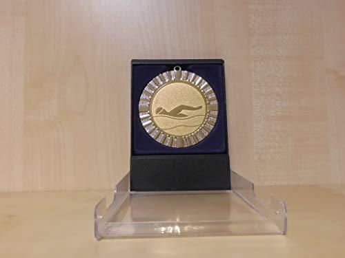 Fanshop Lünen Schwimmen - Schwimmensport - Sportpokale - Etui-Aufsteller - Pokal - Kinder - mit Emblem 70mm / 50mm (Gold) - Pokale - Turnier - mit Gravur - (e602) -