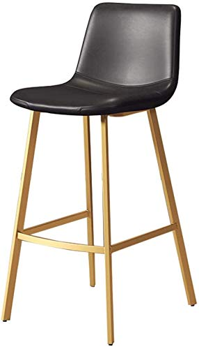 Industrial Bar Stool Chair with Footrest Dining Chairs Barstools for Kitchen | Pub | Café High Stools Wood Seat Max. Load 200kg Black Metal Legs-Seat Height 75cm