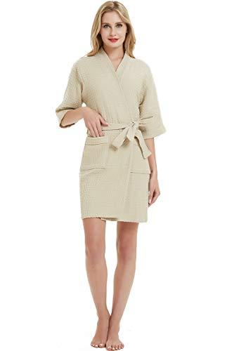 SANLI Damen-Bademantel aus Baumwolle, weiches Wabenmuster mit Waffelmuster - Braun - X-Large