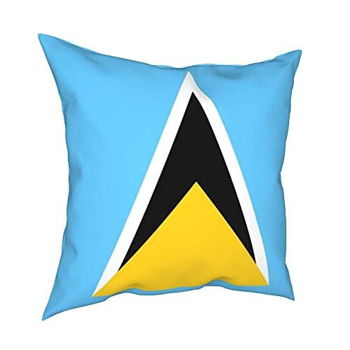 SFDGBTH Flagge von Saint Lucia Dekorative Kissenbezug, 18 x 18 Zoll, Bettwäschekissenbezug Quadratische Kissenbezug, geeignet für Häuserdekoration von Auto-Sofa