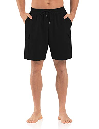 Agnes Urban Mens 6' Cargo Shorts Casual Lounge Elastic Waist Workout Athletic Gym Cotton Terry Sweat Shorts with Pockets Black