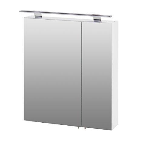Schildmeyer Siena Spiegelschrank, Korpus: melaminharzbeschichtete Spanplatte/Griffe und Beschläge aus Metall, Weiß Glanz, 16 x 60 x 75 cm