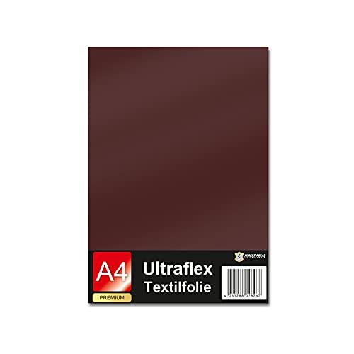 Ultraflex S Textilfolie für Plotter 61 Farben Din A4 Bogen 30x20cm Plotterfolie matt auf Stoffe Kleidung T-Shirt Folie Flexfolie DIY Zubehör (18 Braun, 1 Bogen)