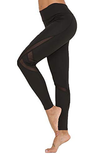 FITTOO Mallas Leggings Mujer Yoga de Alta Cintura Elásticos y Transpirables para Yoga Running FitnessG39K #4-Negro Small