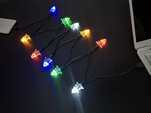 YAGE Tale Christmas Tree Shaped USB Charging Cable Christmas Light Phone Charger Cord 50inch 10LED Multicolor Compatible with Phone 5 5s 6 6plus 6s 6s Plus 7 7plus 8 8plus X XR XS XS Max 11Pro Max