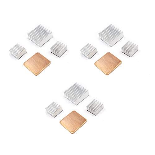 ALLDE 3 x 4er Set Passive Kühlkörper aus Alu in verschiedenen Größen für Raspberry Pi 3 Model B Raspberry pi 2 Model B zum Aufkleben