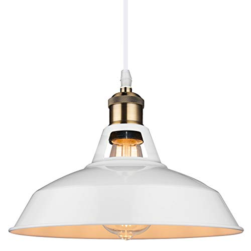 B2ocled White Pendant Lighting Retro Industrial Mini Metal Ceiling Lights with Adjustable Cord For Kitchen Island Pool Table,10.63 inch Diameter