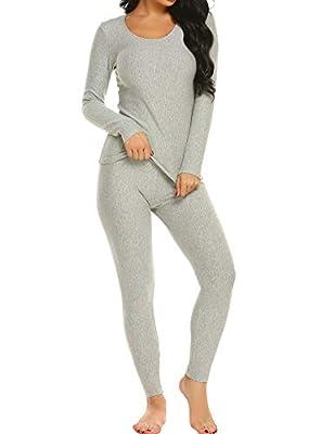 Ekouaer Long Thermal Underwear Fleece Lined Winter Base Layering Set for Women,Fleece-gray,X-Large