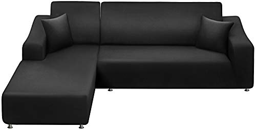 LA MEACK Sofa Slipcover 3 Seats +3 Seats,Sectional Couch Covers 2-Piece, L-Shaped Sofa Covers Furniture Protector Stretch Couch Slip Cover with 2 pcs Pillow Covers , Black