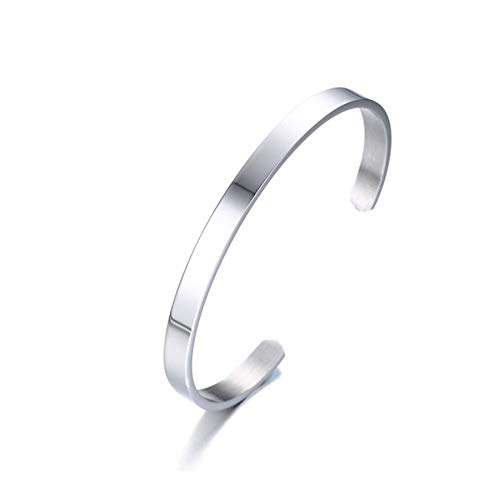 PJ JEWELLERY Stainless Steel Plain Polished Finish Cuff Bangle Bracelets for Men Women for Christmas,New Year,Friendship,Width 6mm,Silver