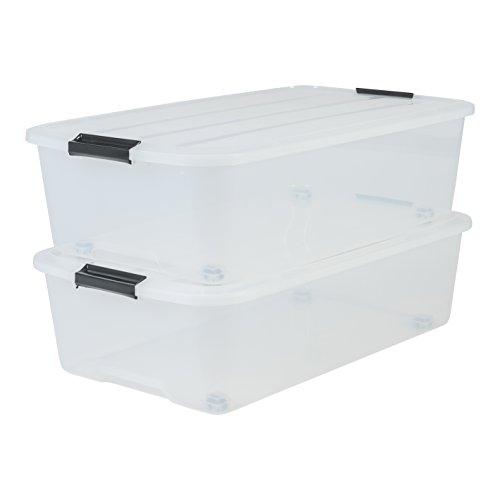 Marca Amazon - Iris Ohyama - Juego de 2 cajas de almacenamiento para cama con ruleta, TBU-40, plástico transparente, 40 L, 68 x 39 x 19,3 cm