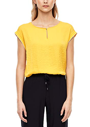 s.Oliver RED Label Damen Blusenshirt mit Satinfront Yellow 44