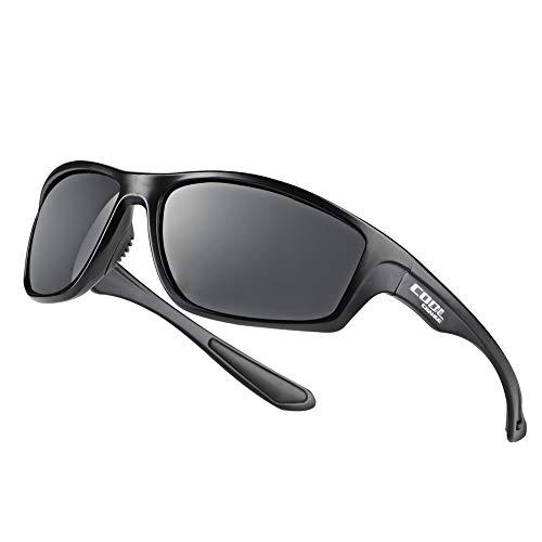 Cool Change CoolChange Polarized Sports Sunglasses TR90 Unbreakable Frame Sport Driving Fishing Bike Glasses for Men Women, Black, Medium