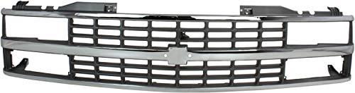 Grille Assembly Compatible with 1988-1993 Chevrolet K1500 Chrome Shell/Silver Insert with Quad or Composite Headlights