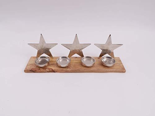 CB Home & Style Adventstablett Tablett mit Teelichthaltern 53 cm auf Holz mit 3 Sternen Weihnachten Adventskranz